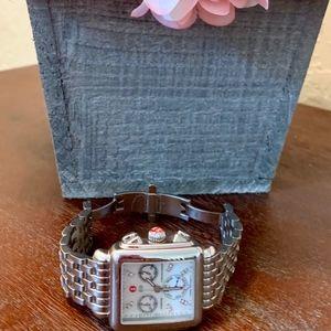 MICHELE 18mm Deco Diamond Dial Watch Head, Steel